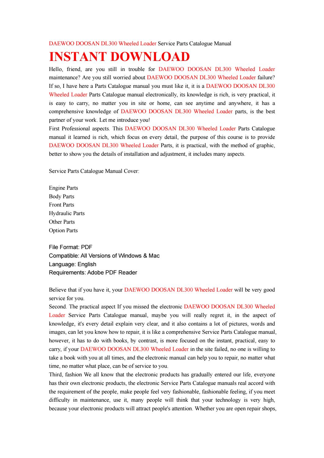 Daewoo doosan dl300 wheeled loader service parts catalogue manual by  kfjsjfnsef - issuu