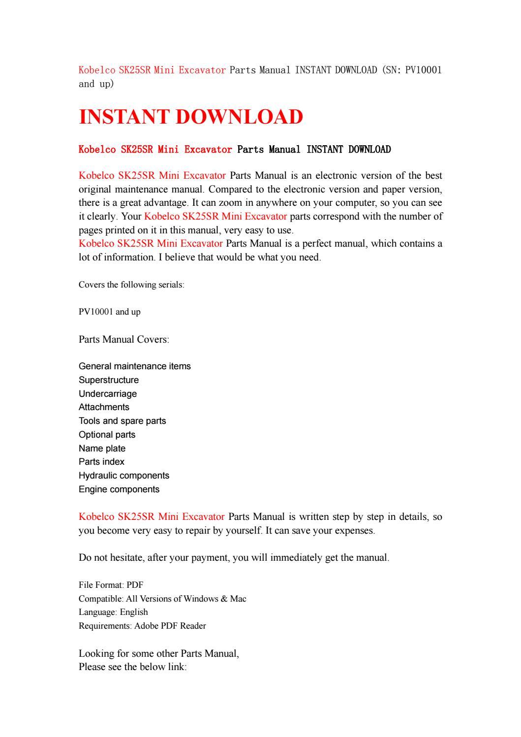 Kobelco sk25sr mini excavator parts manual instant download (sn pv10001 and  up) by kfjsjfnsef - issuu