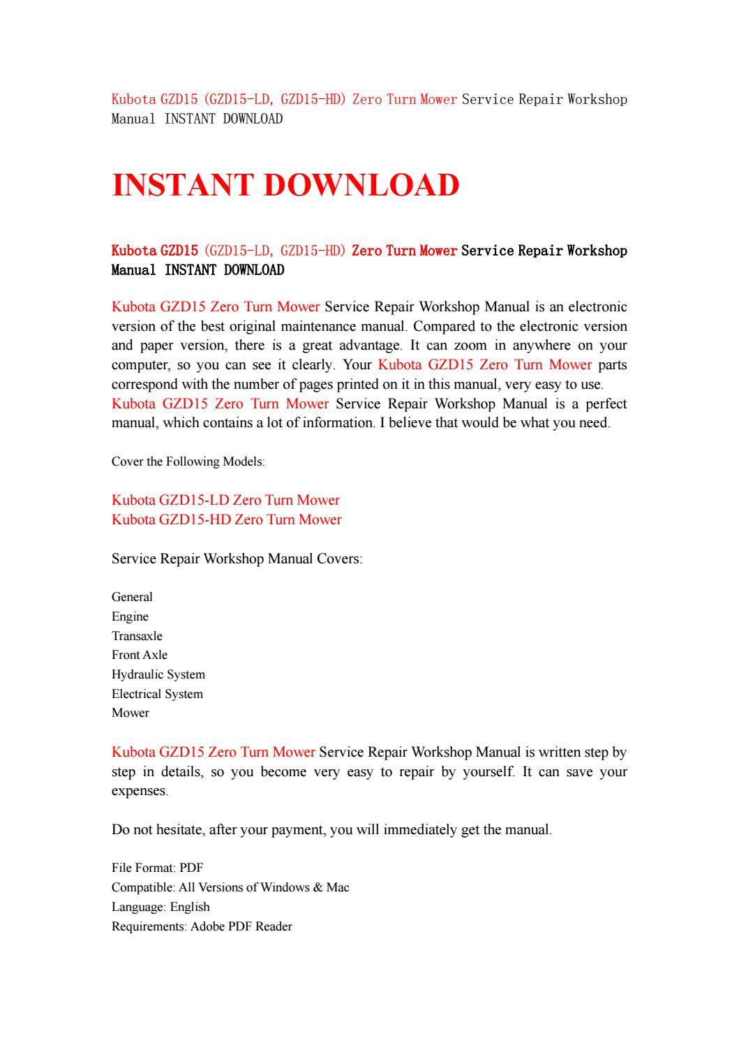Kubota gzd15 (gzd15 ld, gzd15 hd) zero turn mower service repair workshop  manual instant download by kfjsjfnsef - issuu