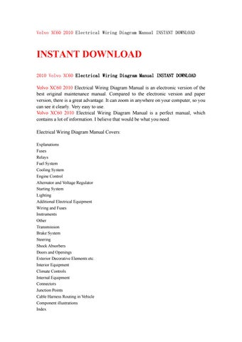 Volvo Xc60 2010 Electrical Wiring Diagram Manual Instant Download By Kfjsjfnsef Issuu