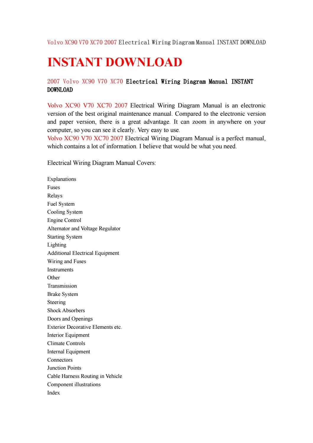 Volvo Xc90 V70 Xc70 2007 Electrical Wiring Diagram Manual Instant Download By Kfjsjfnsef