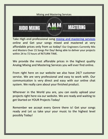 Mixing and mastering services by Best Paint Sprayer Reviews