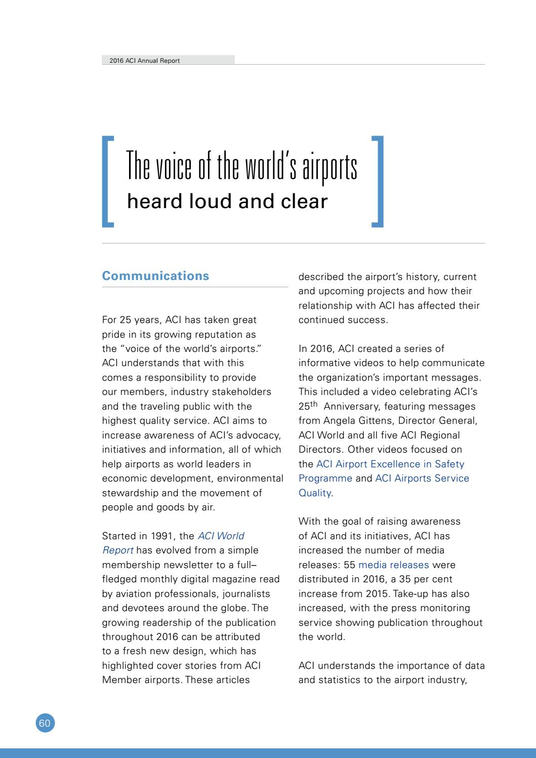 ACI Annual Report 2016 by Airports Council International - issuu
