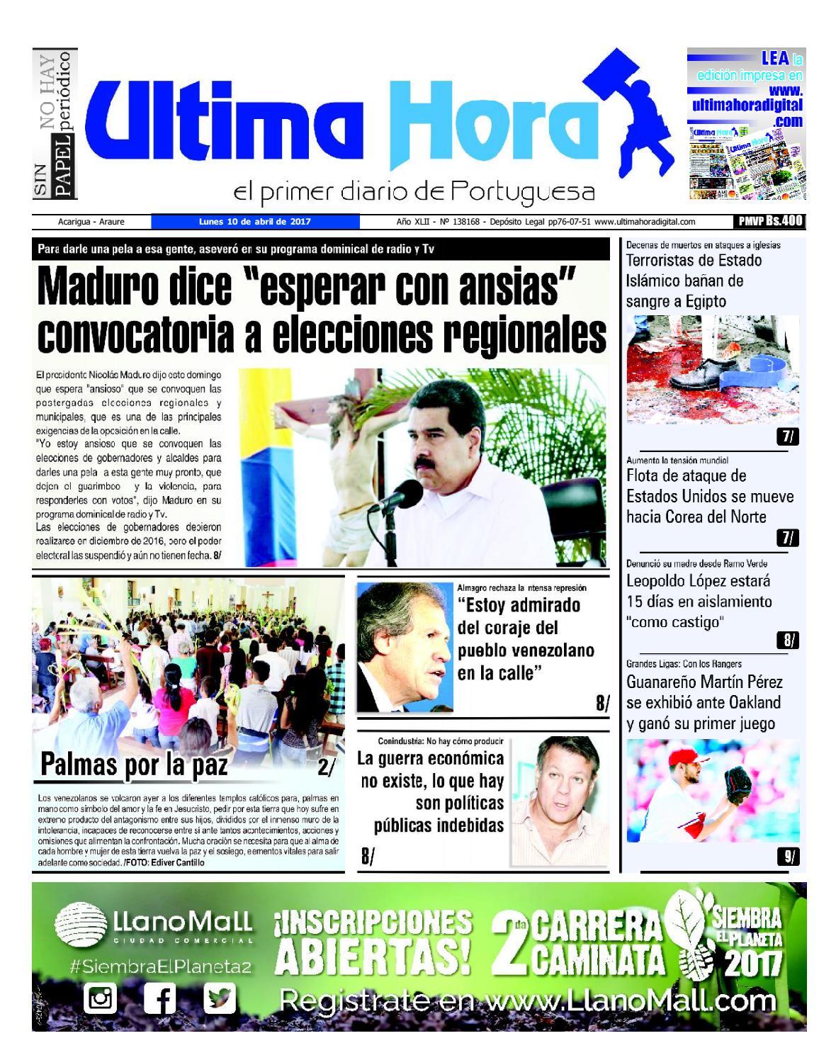 Edicion 10 04 2017 By Ultima Hora El Primer Diario De Portuguesa  # Muebles Javier Pinochet