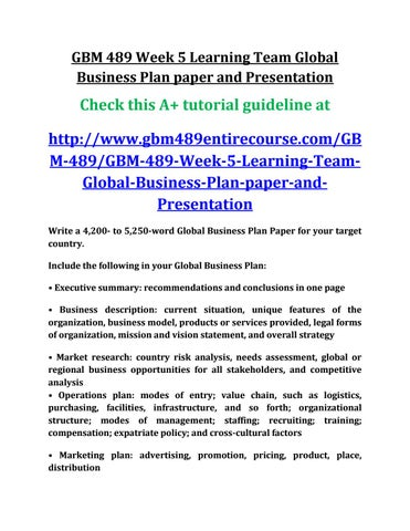 Uop gbm 489 week 5 learning team global business plan paper