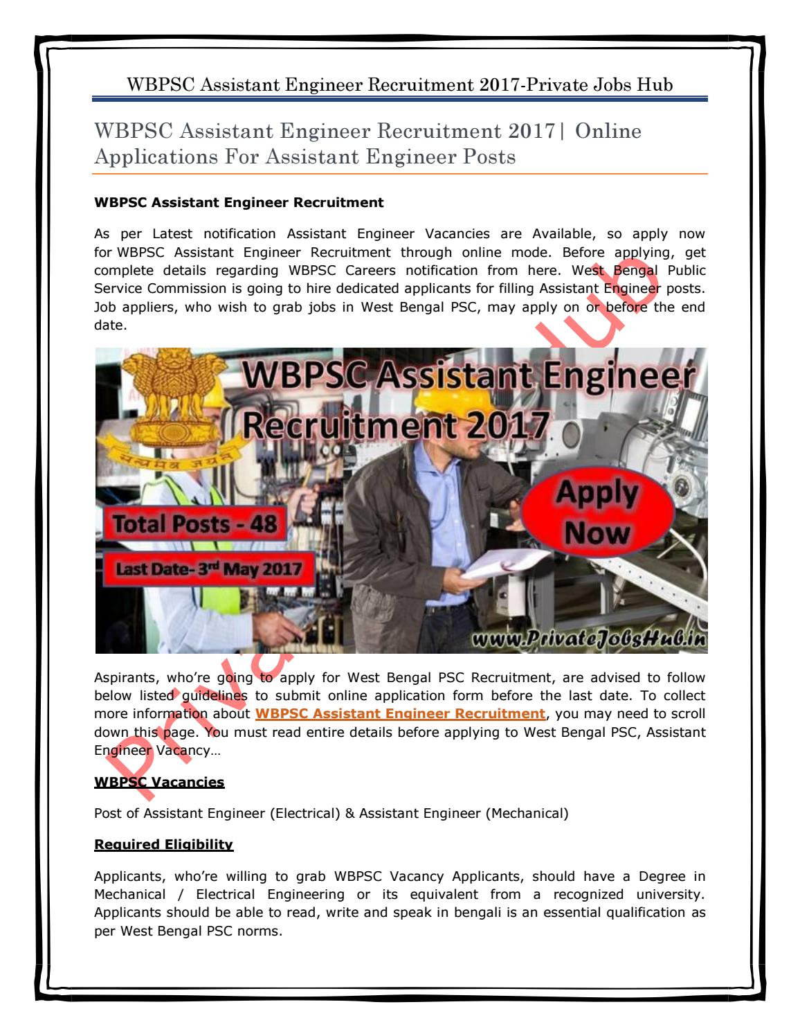 Wbpsc assistant engineer recruitment 2017 online