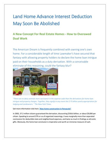 Land Home Advance Interest Deduction May Soon Be Abolished A New Concept For Real Estate Homes