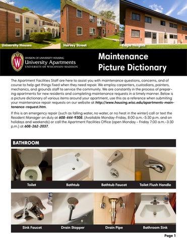University Apartment Maintenance Picture Dictionary
