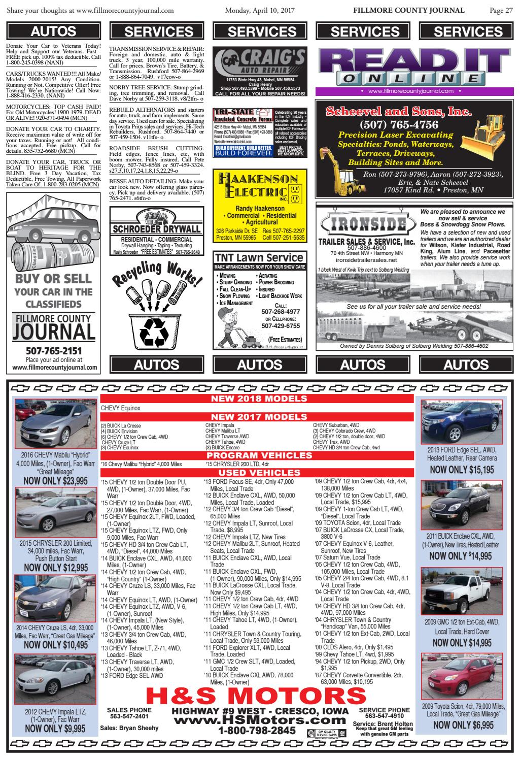 Fillmore county journal by jason sethre issuu for Charity motors 8 mile lahser