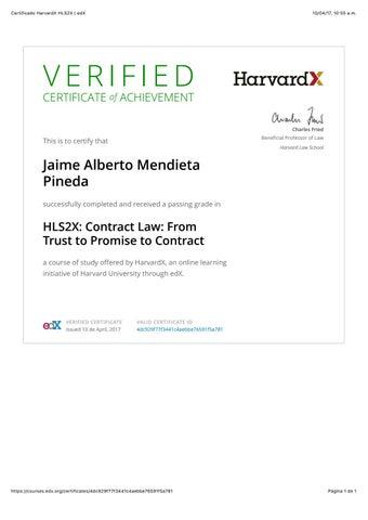 Certificado harvardx hls2x   edx by mendieta abogados - issuu
