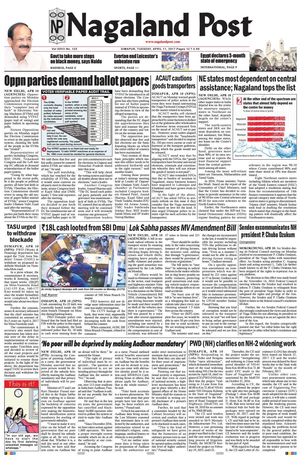 April 11, 2017 by Nagaland Post - issuu on
