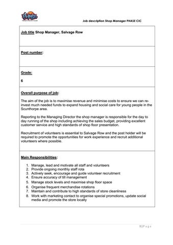 Job Description  Person Specification By Nickerson  Co  Issuu