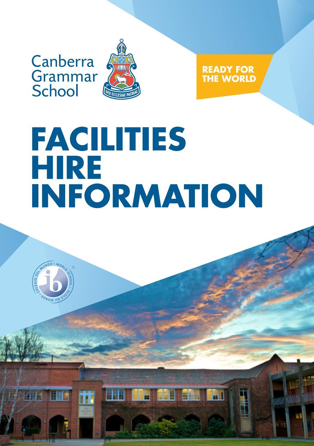 Cgs Facilities Hire Information By Canberra Grammar School