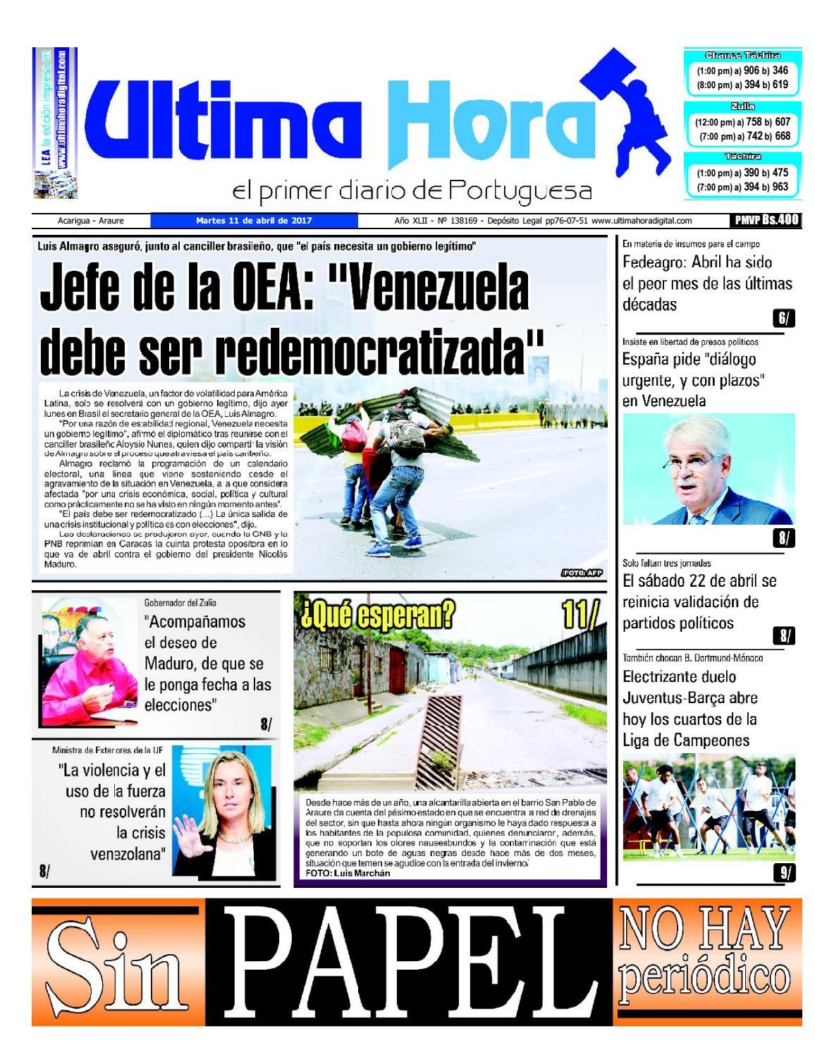 Edicion 11 04 2017 by Ultima Hora - El primer diario de Portuguesa ...