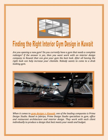 Finding The Right Interior Gym Design in Kuwait by roylee - issuu