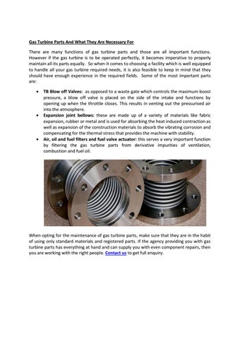 Gas turbine parts and what they are necessary for