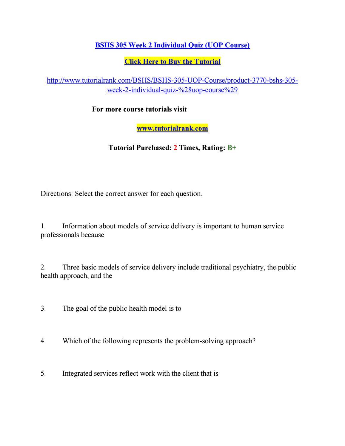 Bshs 305 week 2 individual quiz by alexander50 - issuu