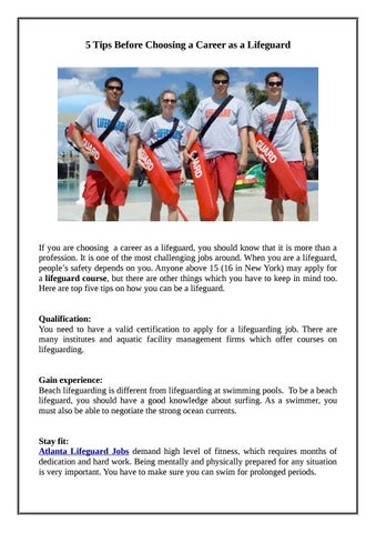 f820e4e7f13 5 tips before choosing a career as a lifeguard by Aquatic Management ...