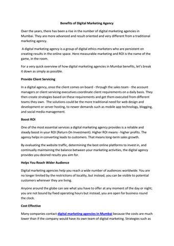 Benefits of Digital Marketing Agency by spentadigital - issuu