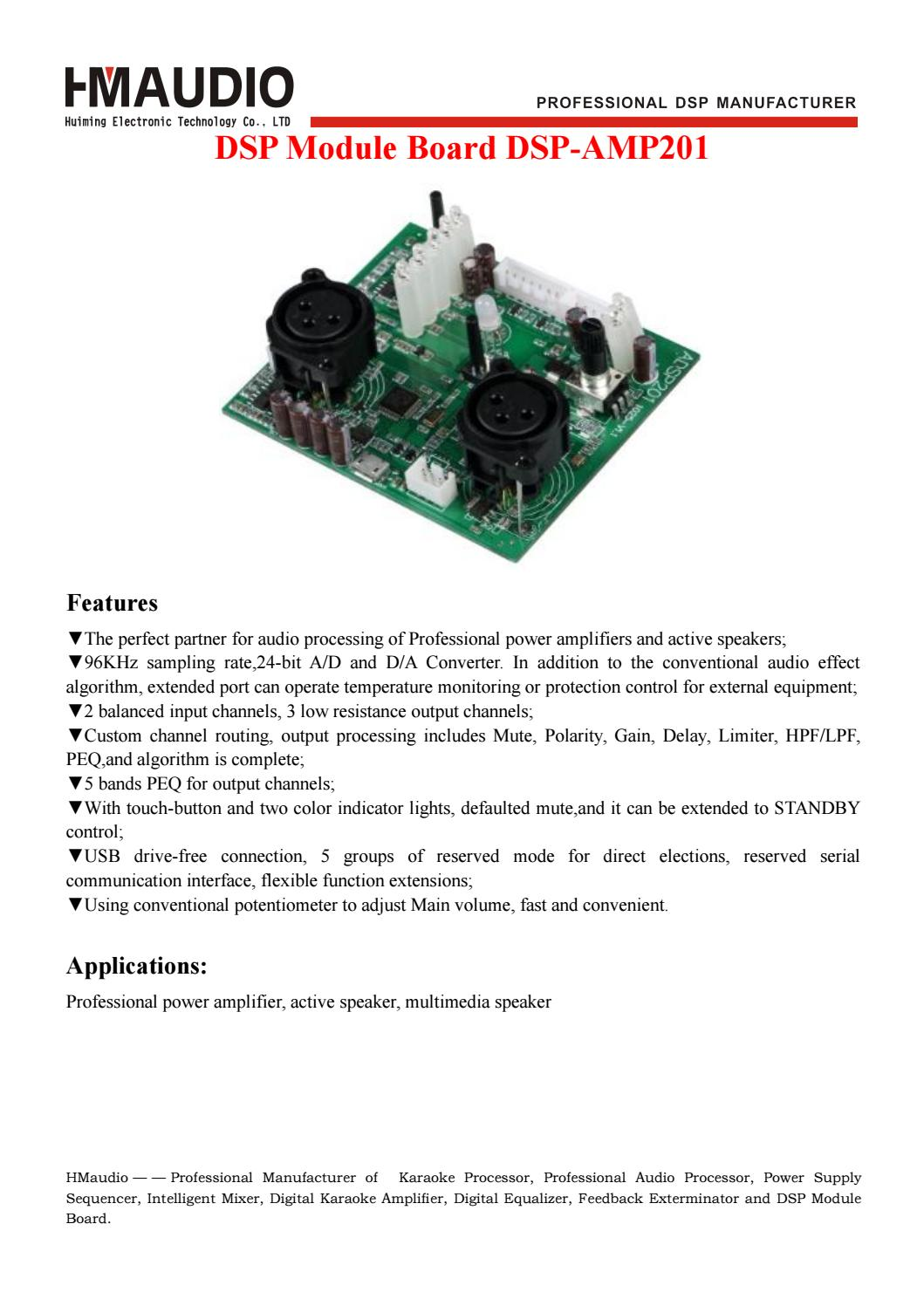 Dsp Amp201 Module Board By Sally Zhou Issuu Audio Processor Circuit