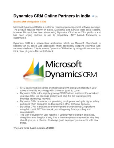 Dynamics CRM Online Partners in India by Bitscape - issuu