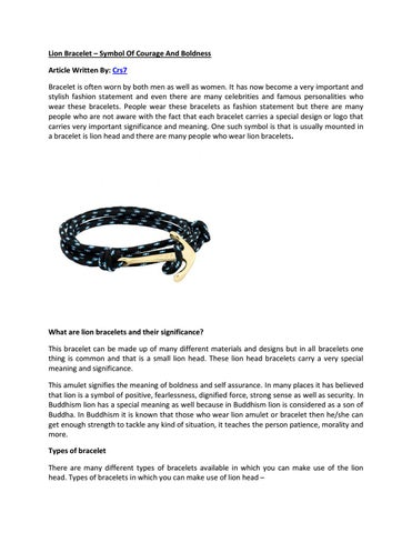 Lion Bracelet Symbol Of Courage And Boldness By Freeman Miller Issuu