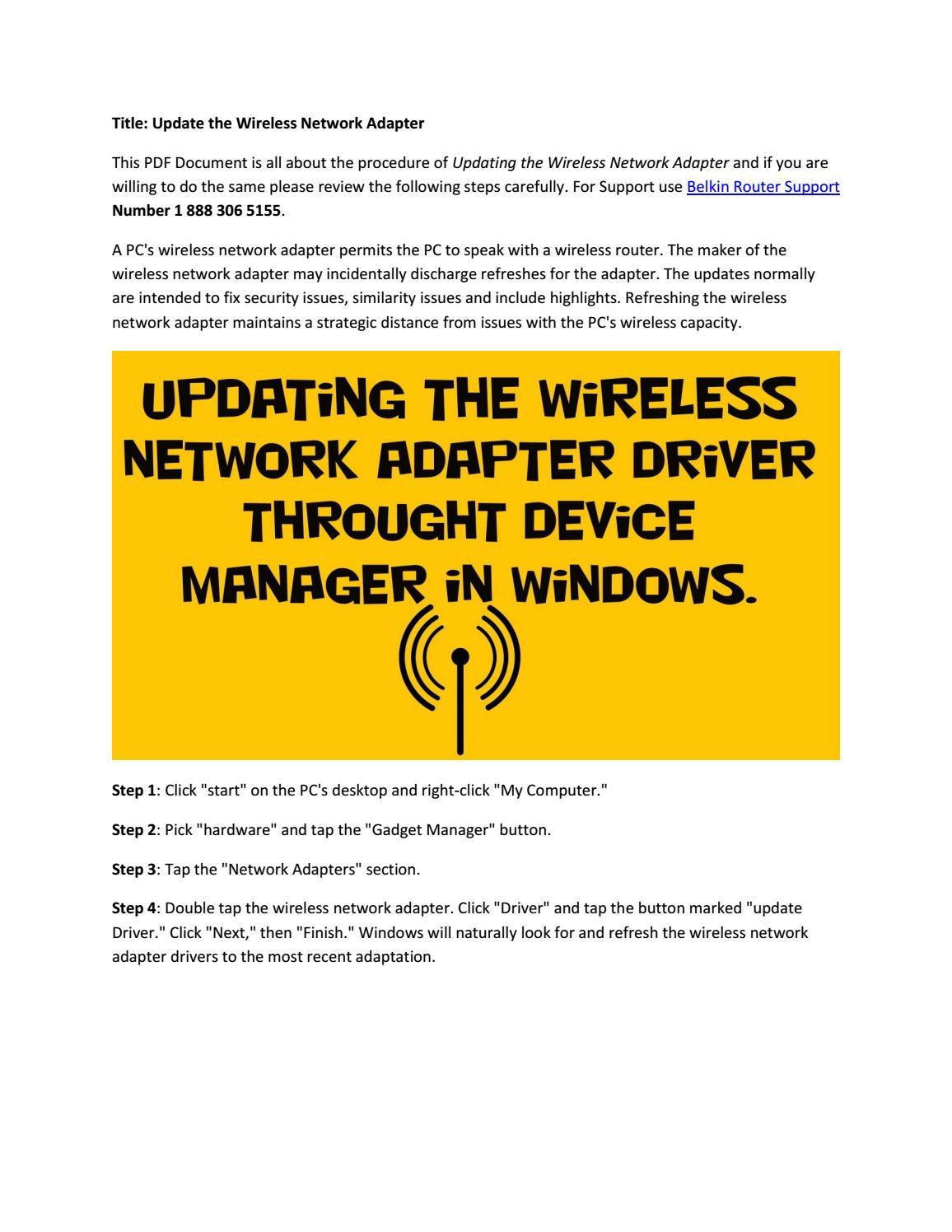 Update the wireless network adapter by Roman Ambrose - issuu