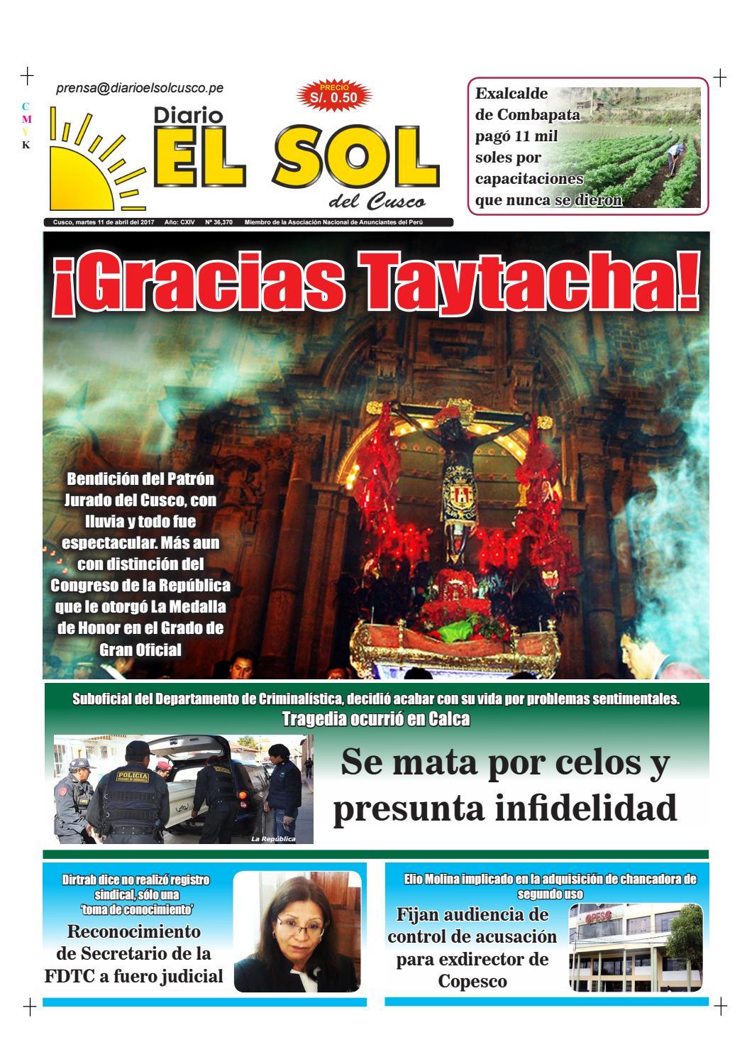 Diario El Sol del Cusco - 11 de abril del 2017 Edición Digital by Diario El  Sol del Cusco - issuu 3fff1b8eb7a70