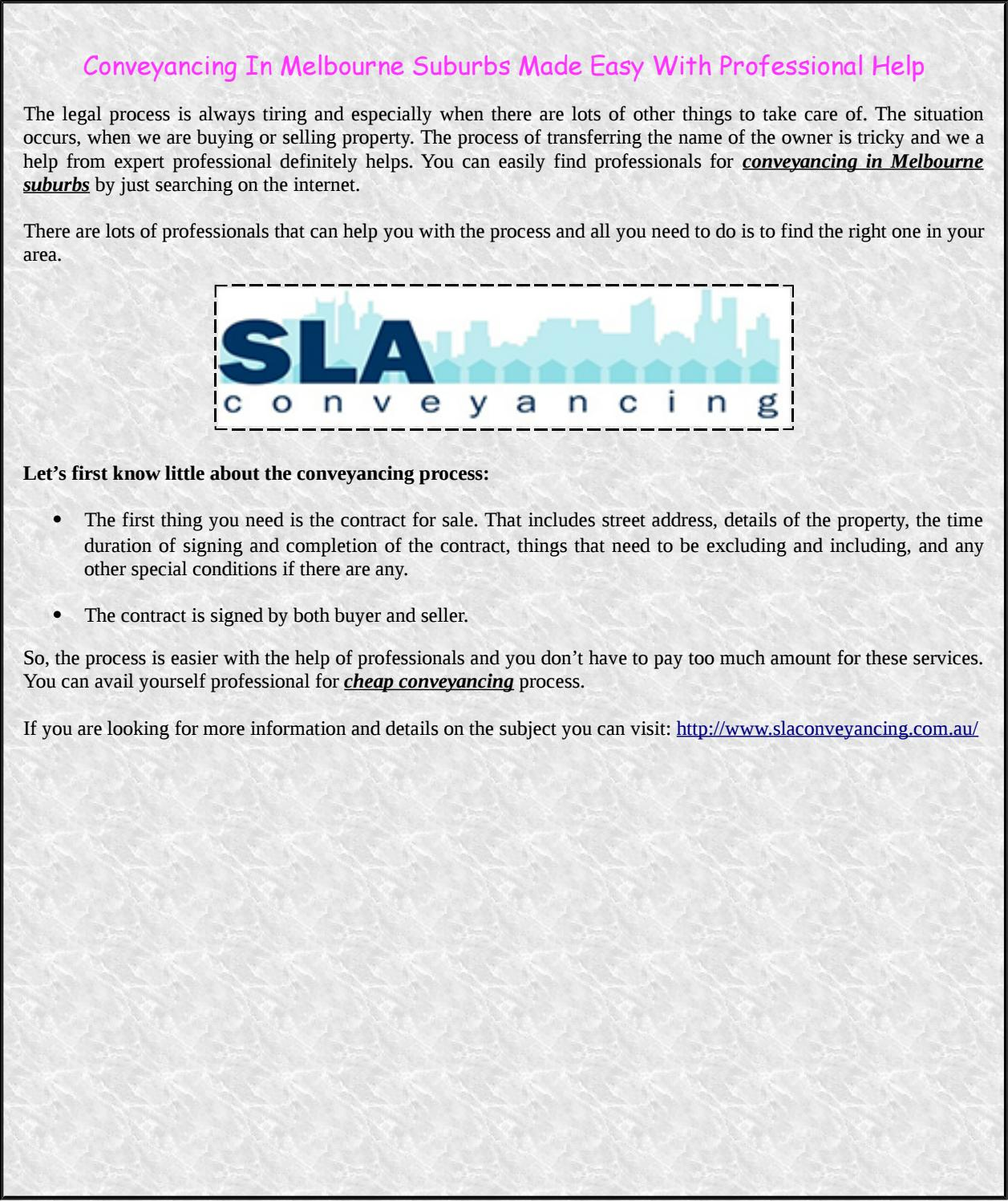 Conveyancing in melbourne suburbs made easy with professional help conveyancing in melbourne suburbs made easy with professional help by sla conveyancing issuu solutioingenieria Choice Image