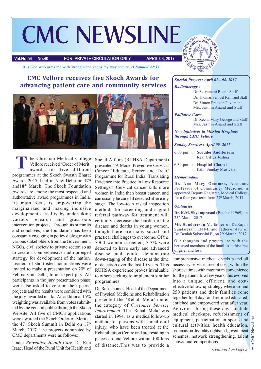 Cmc newsline 3 april 2017 vol 54 no 40 by vellore cmc foundation cmc newsline 3 april 2017 vol 54 no 40 by vellore cmc foundation issuu aiddatafo Choice Image