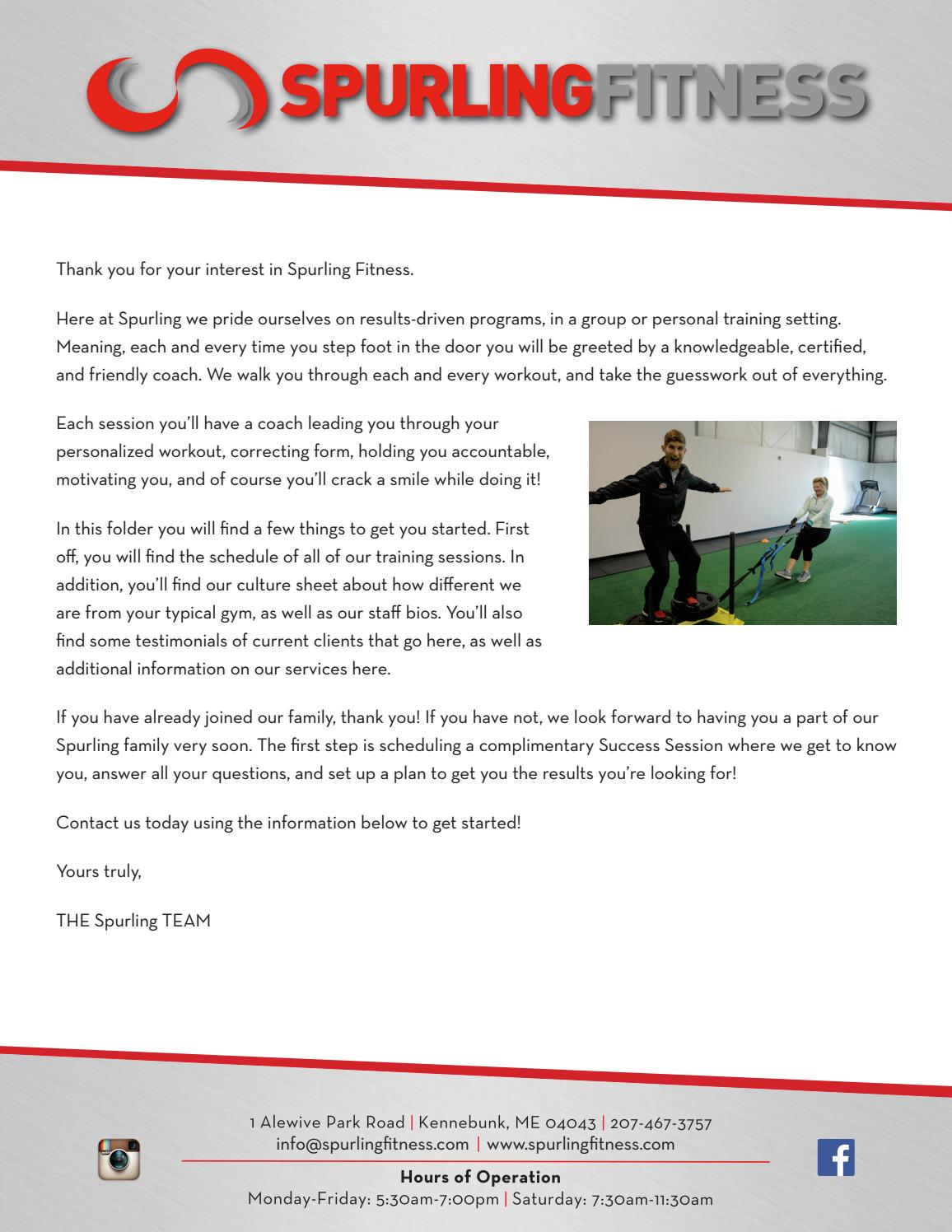 Spurling Fitness Welcome Packet By Spurling Fitness Issuu