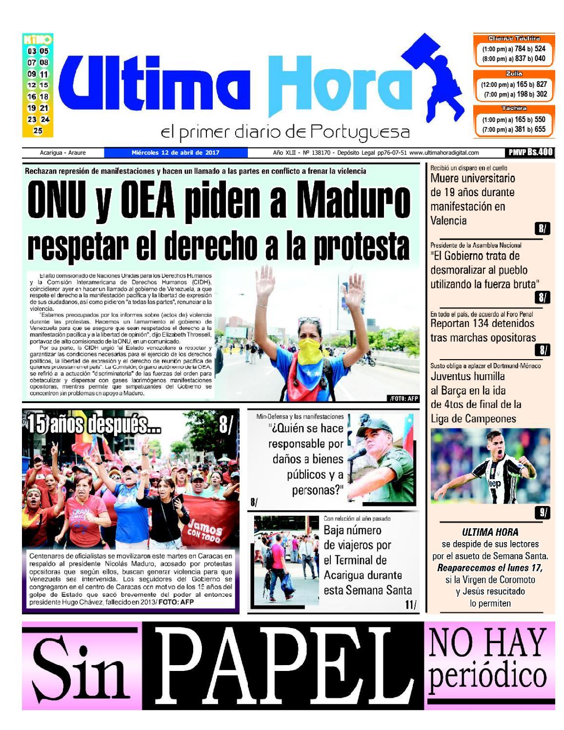 Edición 12 04 2017 by Ultima Hora - El primer diario de Portuguesa ...