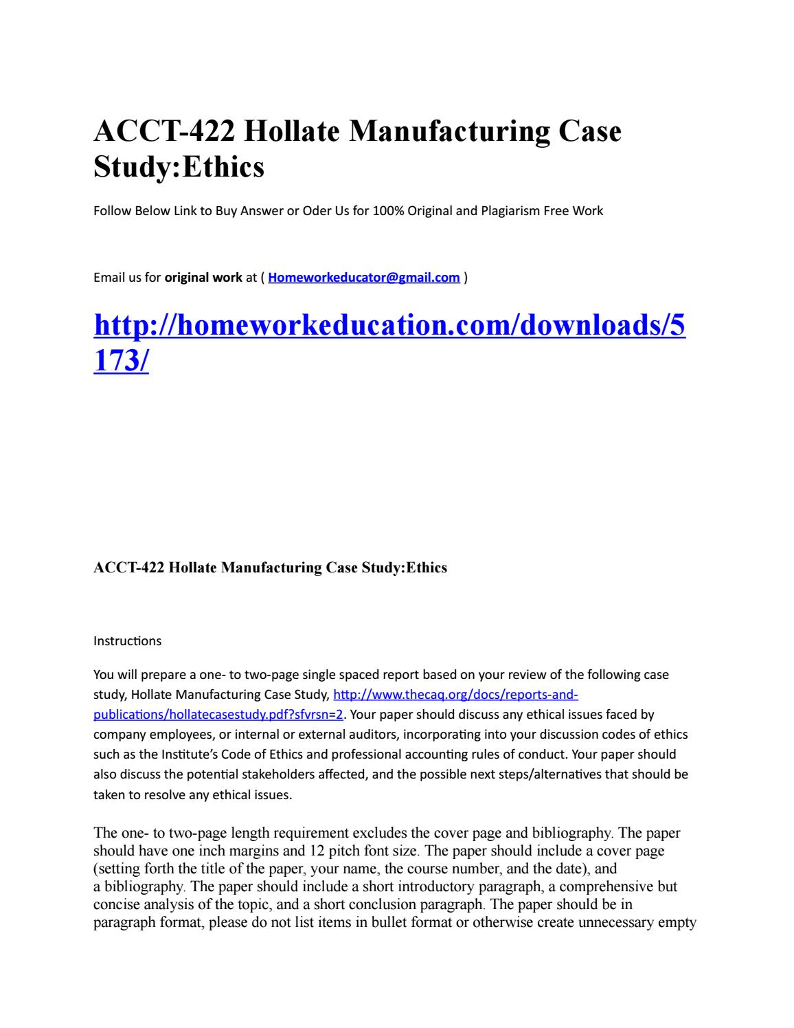 Acct 422 Hollate Manufacturing Case Studyethics By Christopherojeda  Issuu