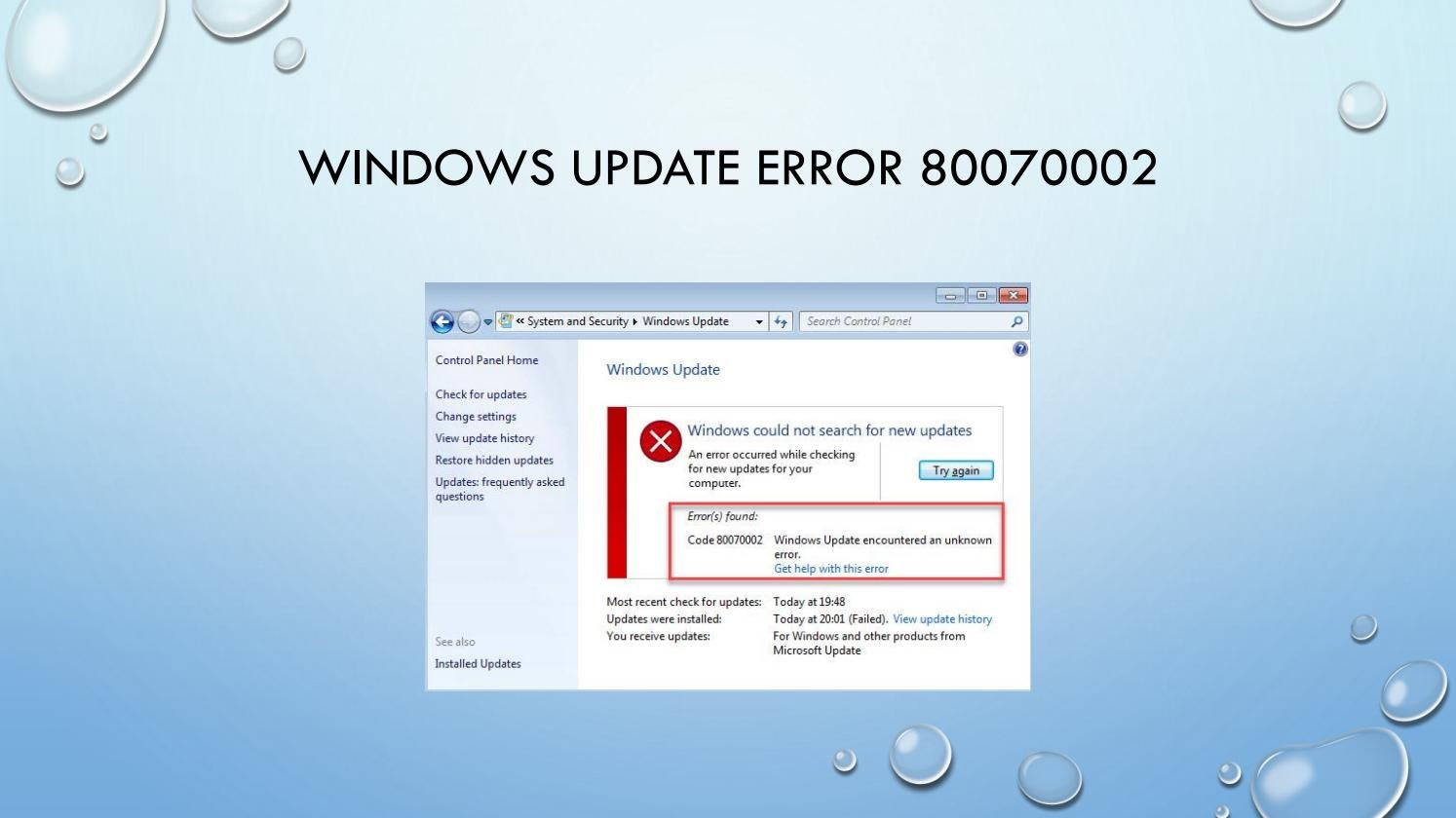 How to Fix Windows Update Error 80070002 in Windows 10 by
