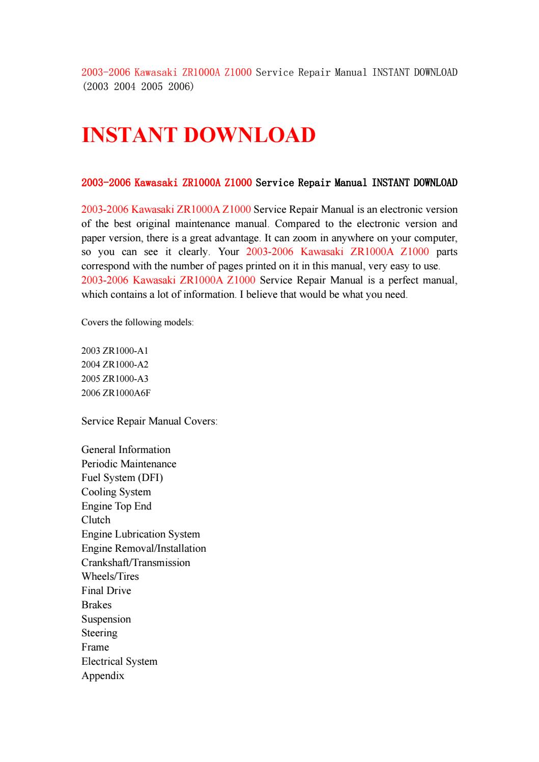 2003 2006 kawasaki zr1000a z1000 service repair manual instant download ( 2003 2004 2005 2006) by kmsjnfhse - issuu