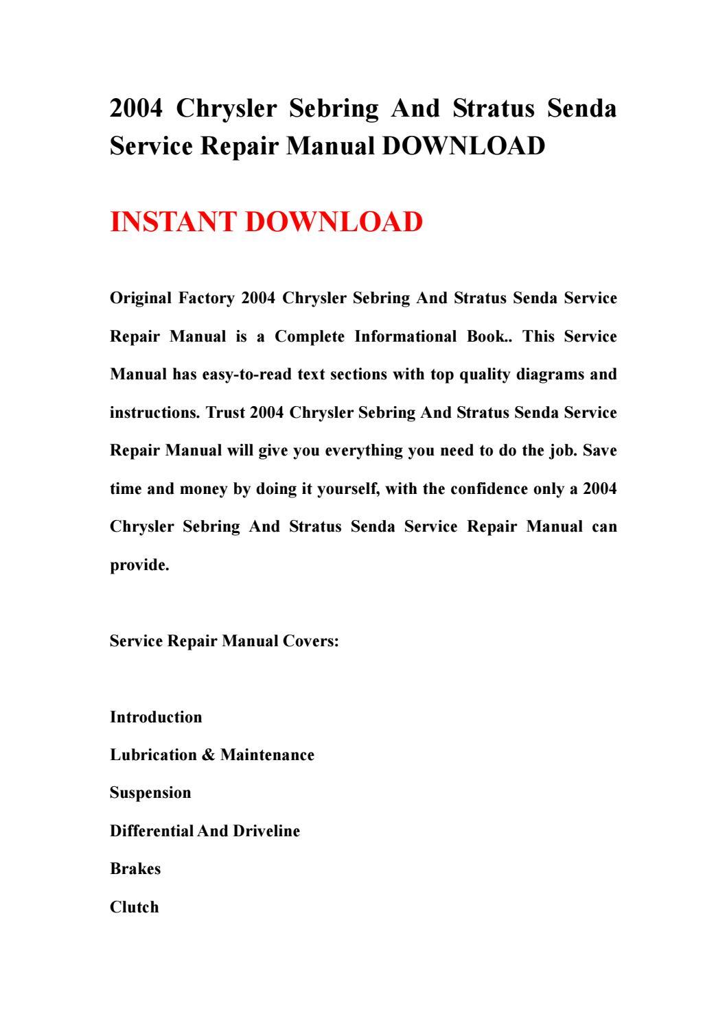 2004 chrysler sebring and stratus senda service repair manual download by  kmsjnfhse - issuu