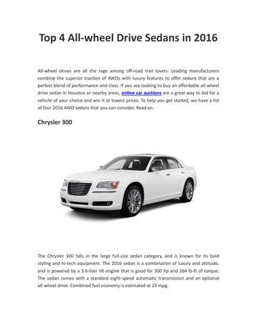 Top 4 All Wheel Drive Sedans In 2016