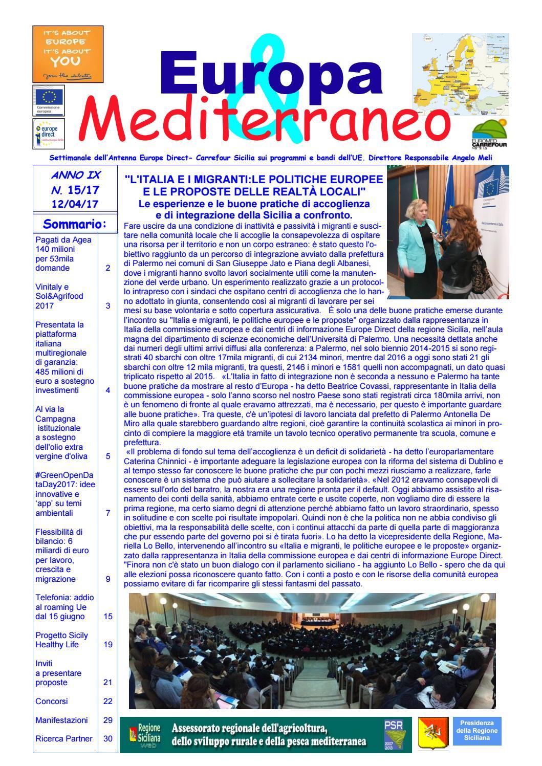 Attendibilita Calendario Cinese Gravidanza.Europa Mediterraneo N 15 Del 12 04 2017 By Euromed Carrefour