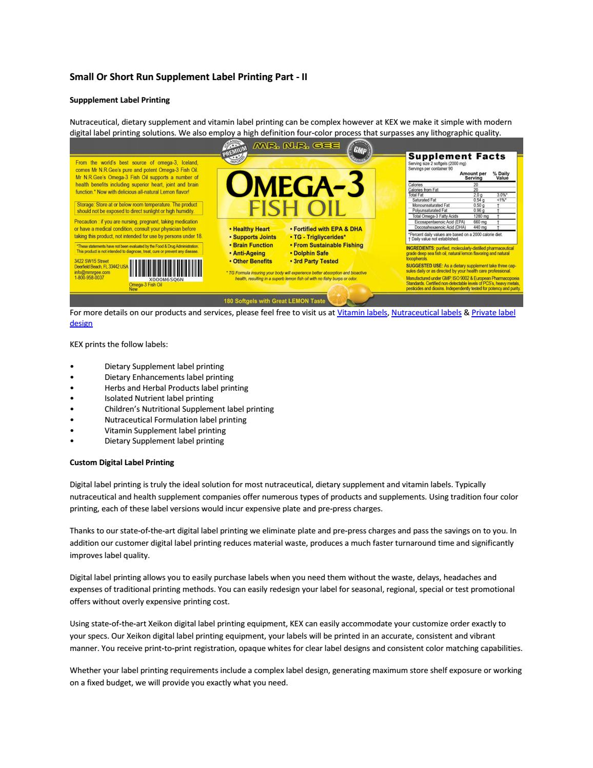 Small or short run supplement label printing part ii by