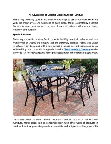 The Advantages Of Metallic Classic Outdoor Furniture By Rustic Charm Interiors Issuu