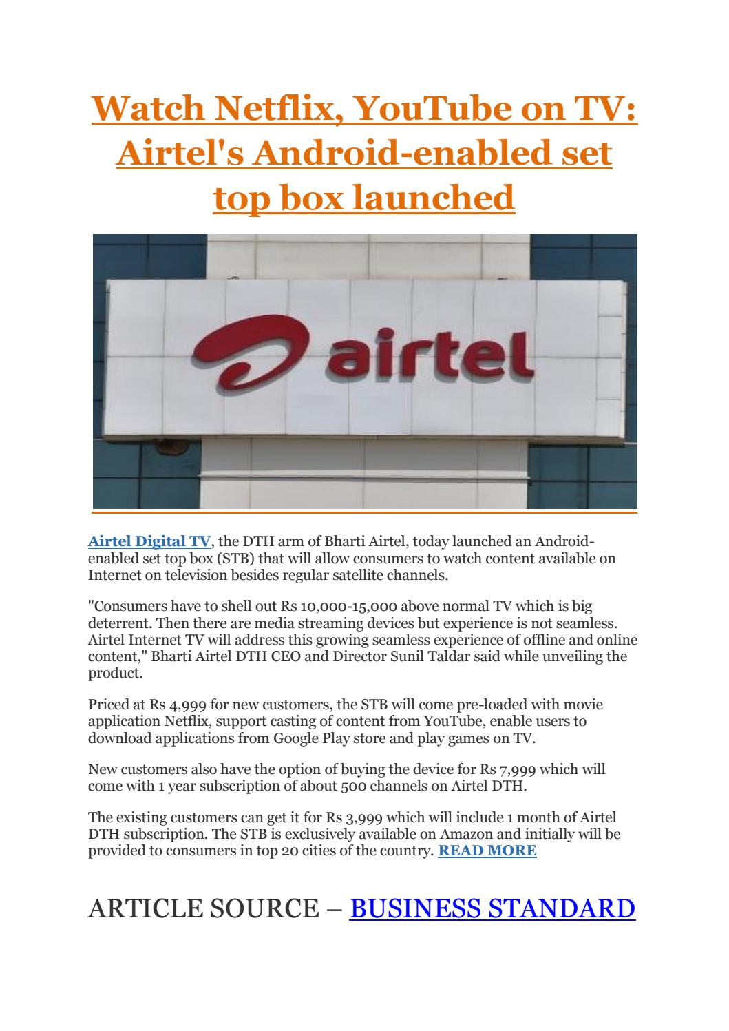 Watch netflix, youtube on tv airtel's android enabled set