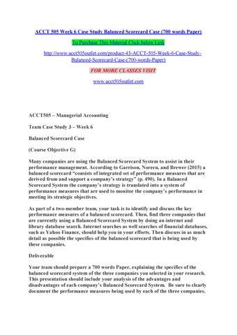 Acct 505 week 6 case study balanced scorecard case (700