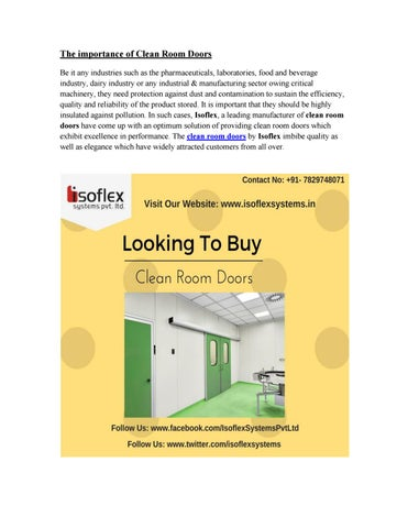 Tremendous Clean Room Doors By Issoflexsystems Issuu Download Free Architecture Designs Viewormadebymaigaardcom