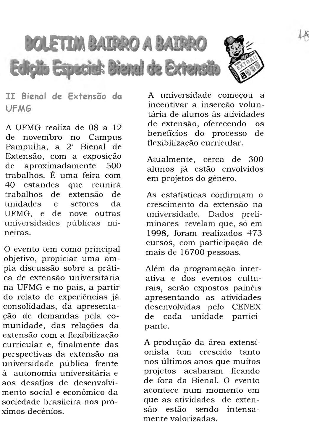 f0a63c4c46c Boletim edição especial  II Bienal de Extensão da UFMG by Boletim Bairro a  Bairro - issuu