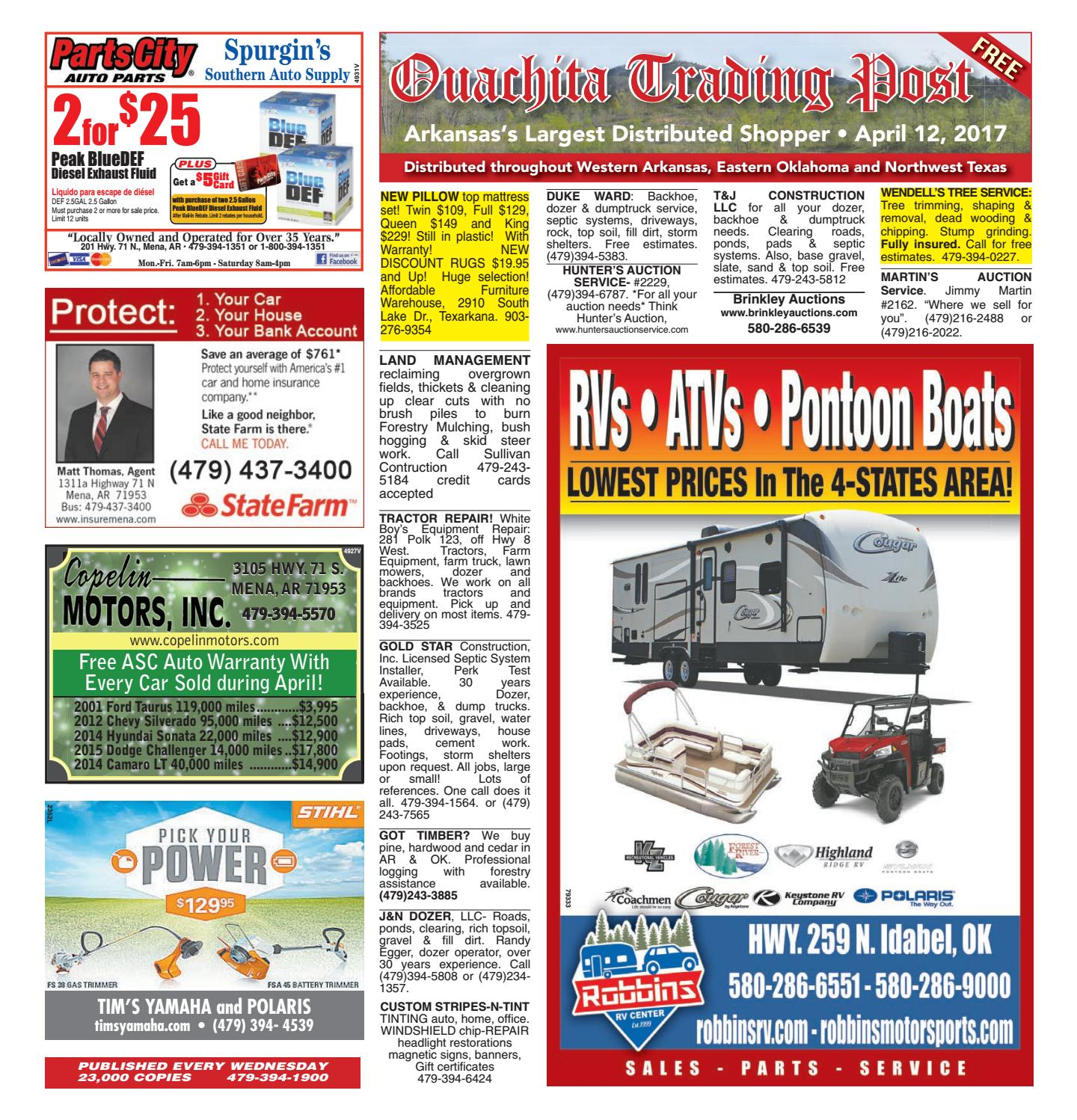 Ouachita trading post april 12 2017 by mena newspapers for Affordable furniture warehouse texarkana