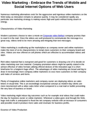 Corporate Video Belfast By Charlescauthen Issuu