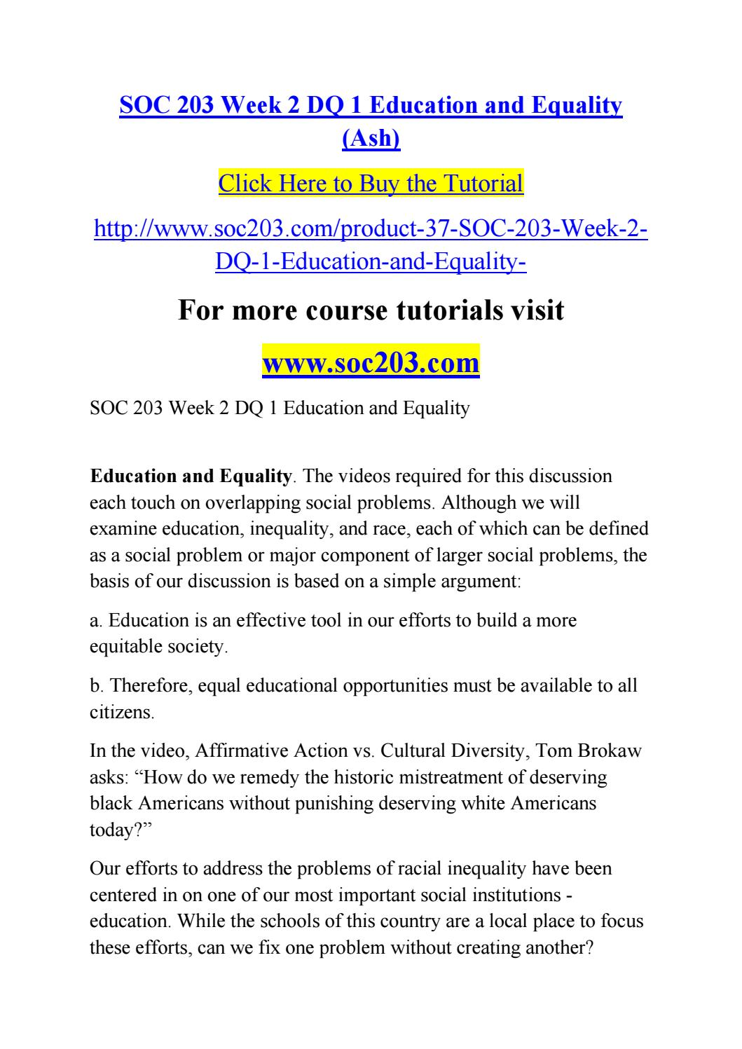 Soc 203 week 2 dq 1 education and equality/ soc203 com by rtgvfgh