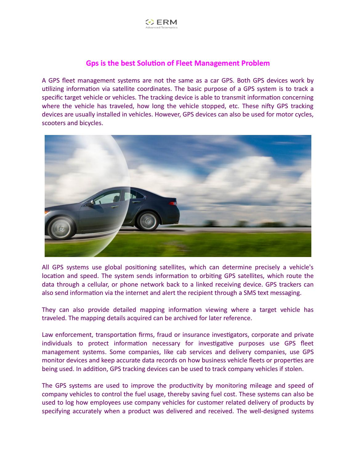 Gps is the best solution of fleet management problem by