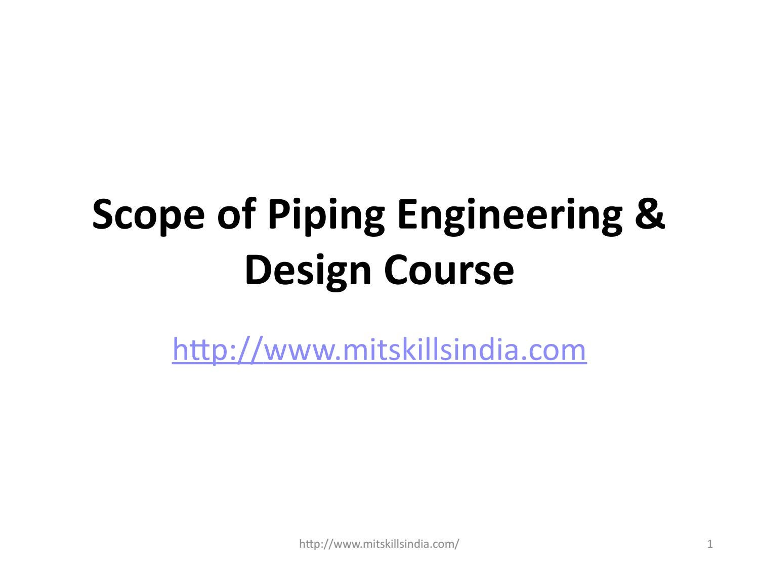 Scope Of Piping Engineering Design Course By Mit Skills Pune Issuu Layout Concepts