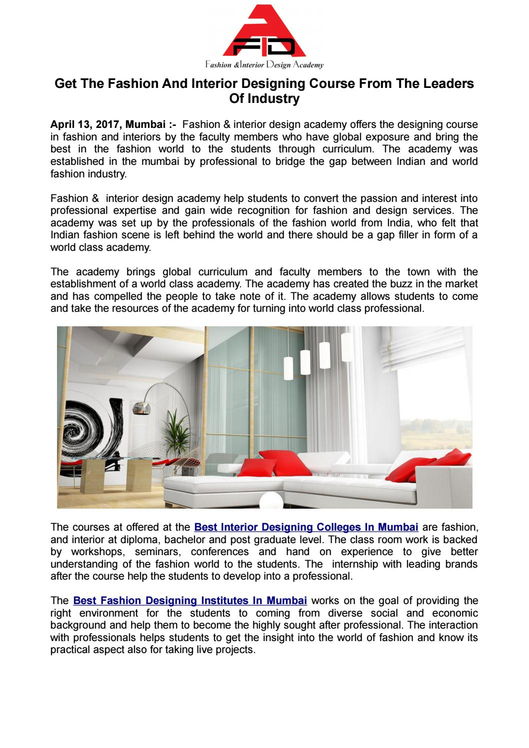 Get The Fashion And Interior Designing Course From The Leaders Of Industry By Fidaacademy Issuu
